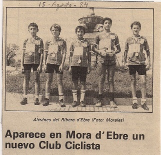 Publicació al diari de la fundació de la Penya Ciclista Ribera d'bre, l'any 1984