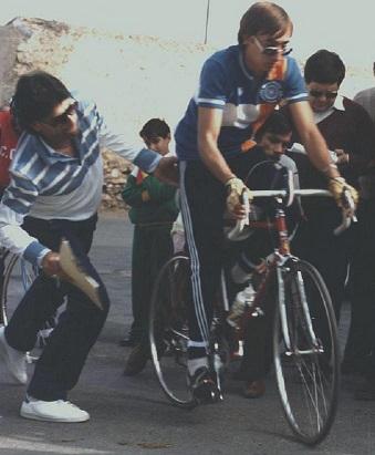 Josep Maria Escoda prenent la sortida a la primera edició de la Pujada a Cardó, celebrada el 4 de novembre de 1984