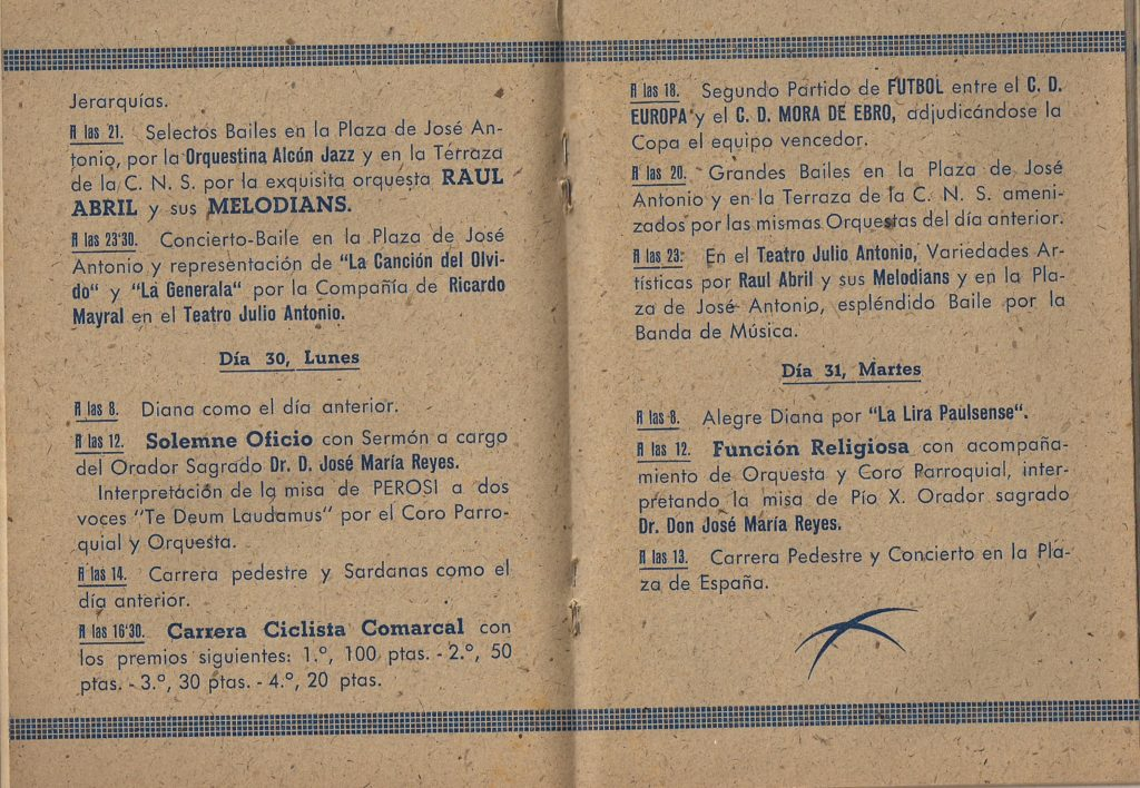 Historia de la Penya Ciclista Ribera d'Ebre Cursa ciclista l'any 1943 al programa de la Festa Major de Móra d'Ebre