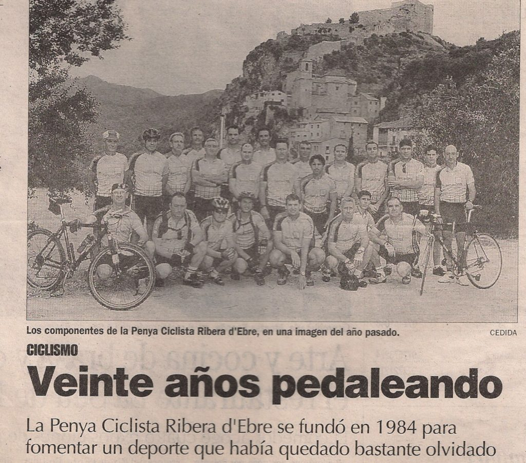20è aniversari de la Penya Ciclista Ribera d'Ebre. Noticia publicada al Diari de Tarragona
