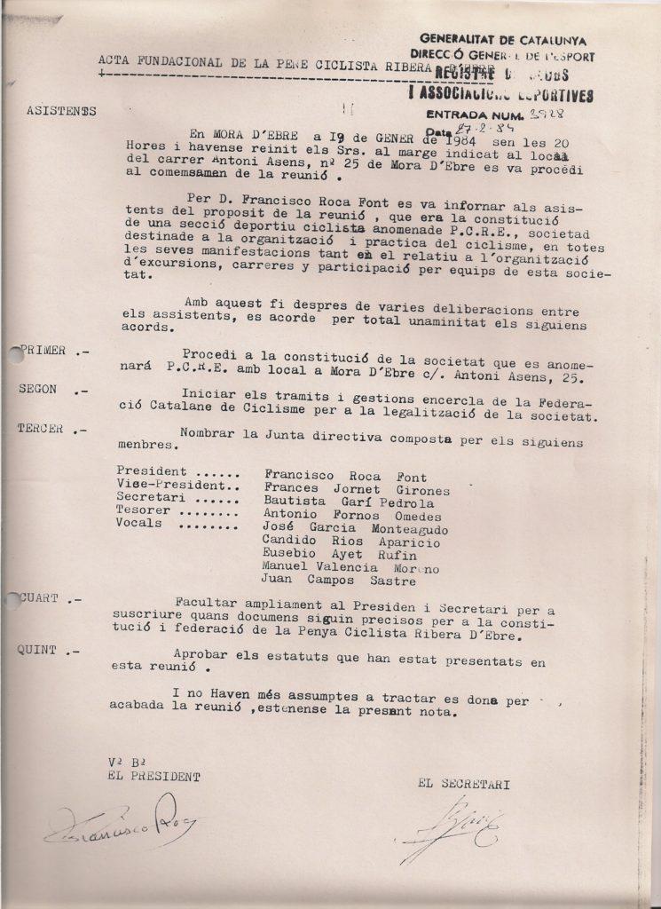 Acta fundacional de la Penya Ciclista Ribera d'Ebre. Any 1984