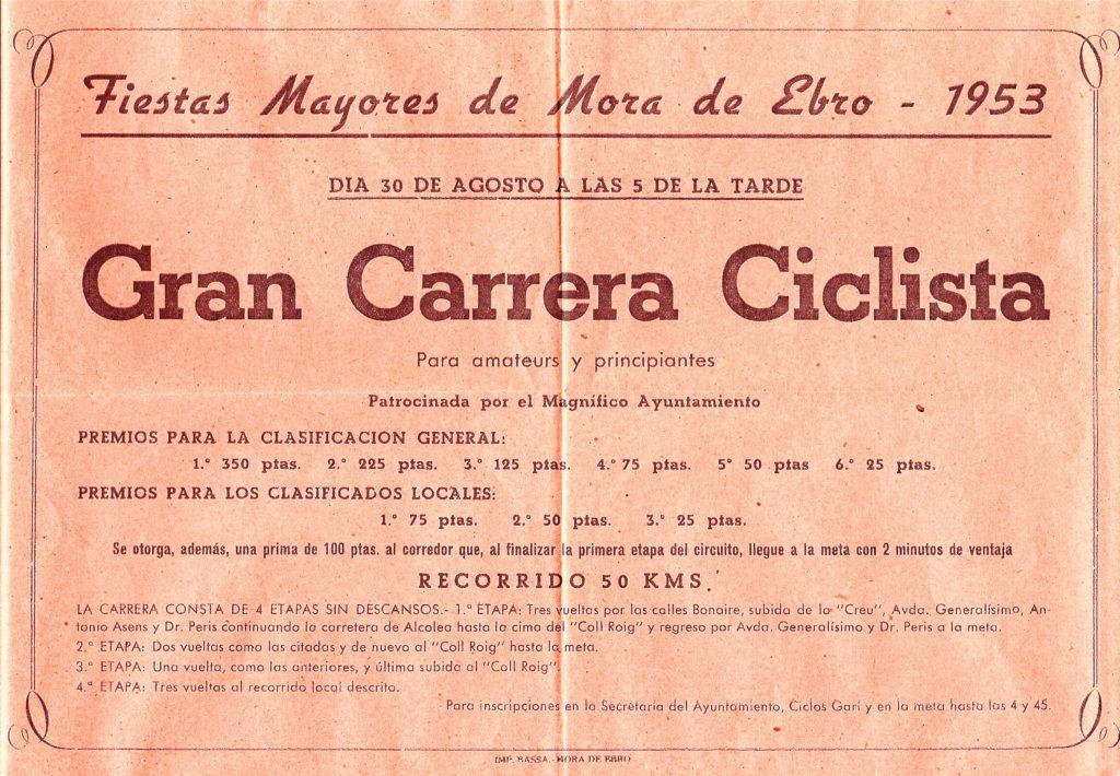 Història Penya Ciclista Ribera d'Ebre Anunci de la cursa ciclista al programa de la Festa Major de Móra d'Ebre de l'any 1952