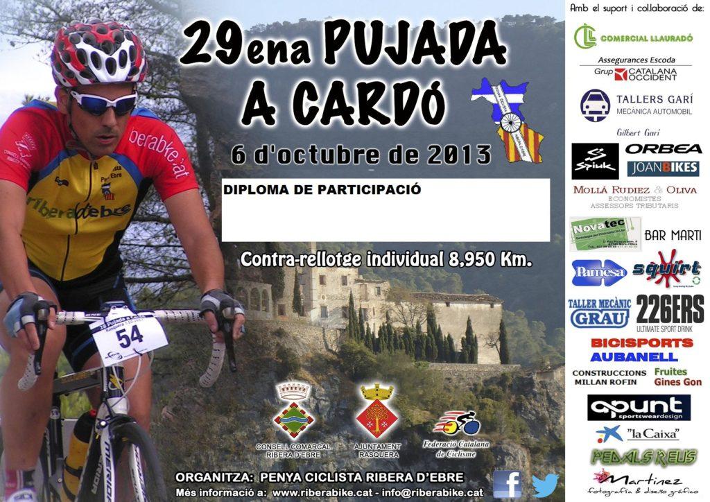 Cartell de la 29ena Pujada a Cardó, celebrada al 2013