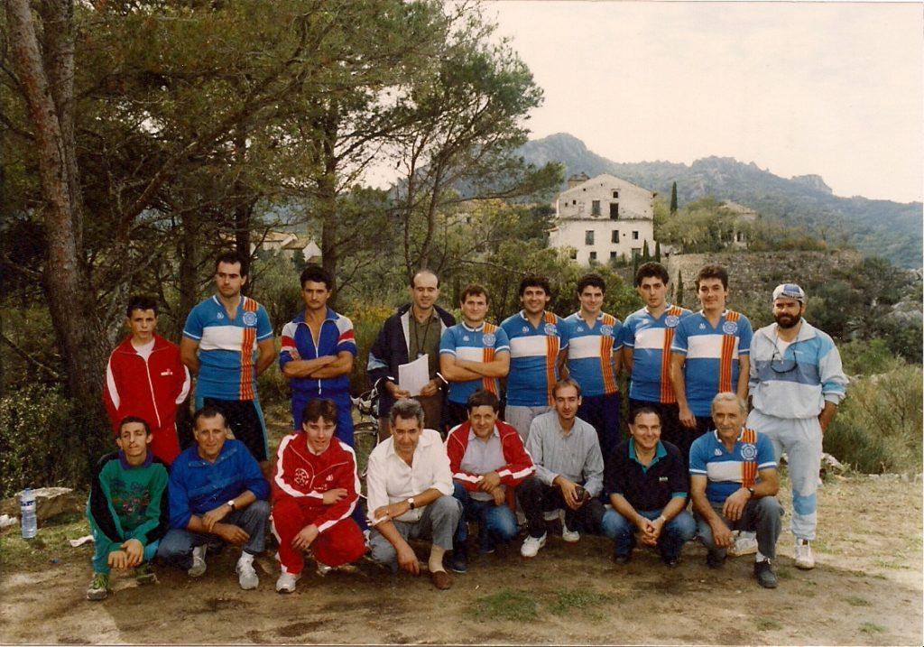 1990 Pujada a Cardó. Foto dels participants de la Penya i organitzadors